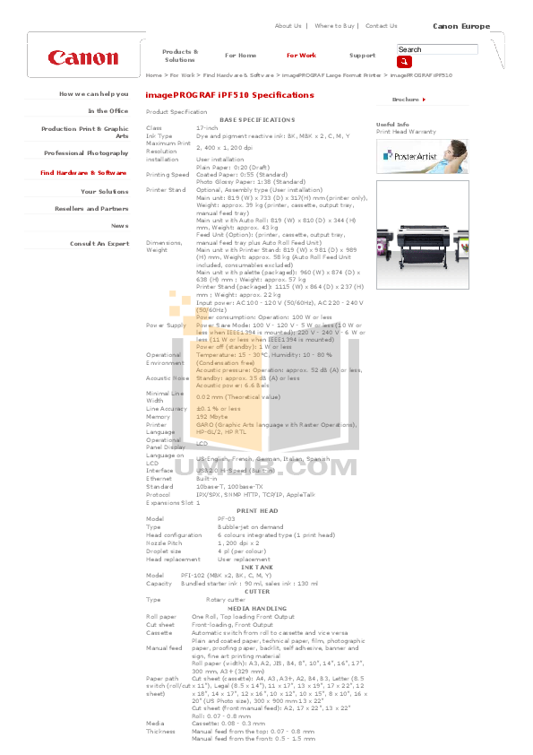pdf for Canon Printer imagePROGRAF iPF510 manual