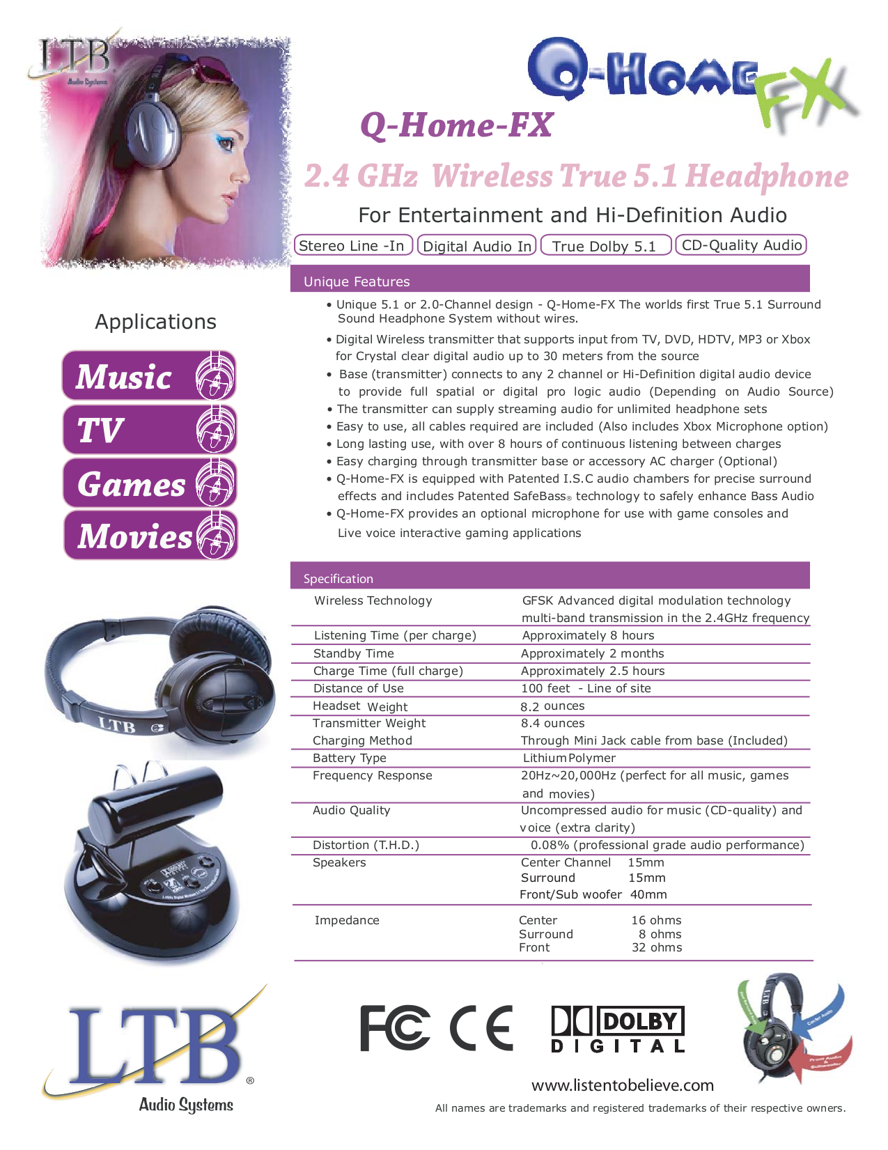 pdf for LTB Headphone Q-Home-FX manual