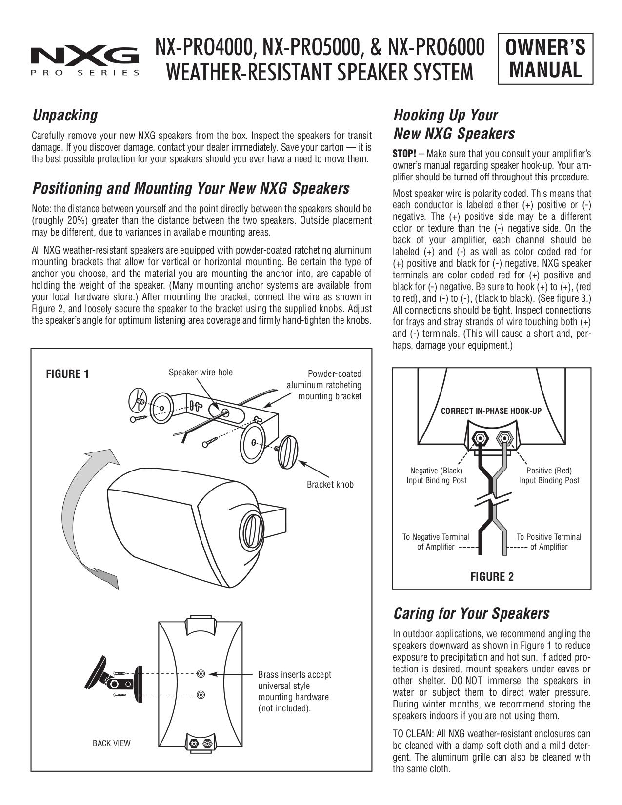 pdf for Nxg Speaker PRO 4000 manual