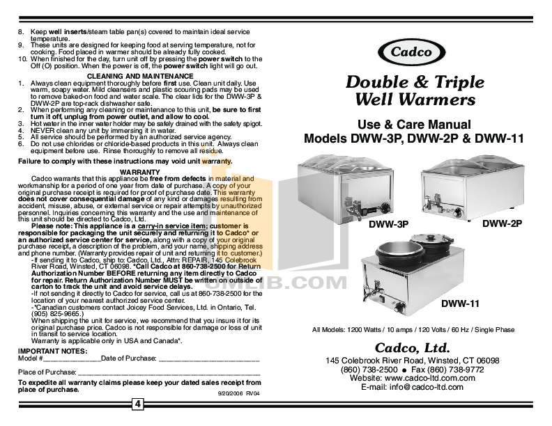 pdf for Cadco Other DWW-2 Warmers manual