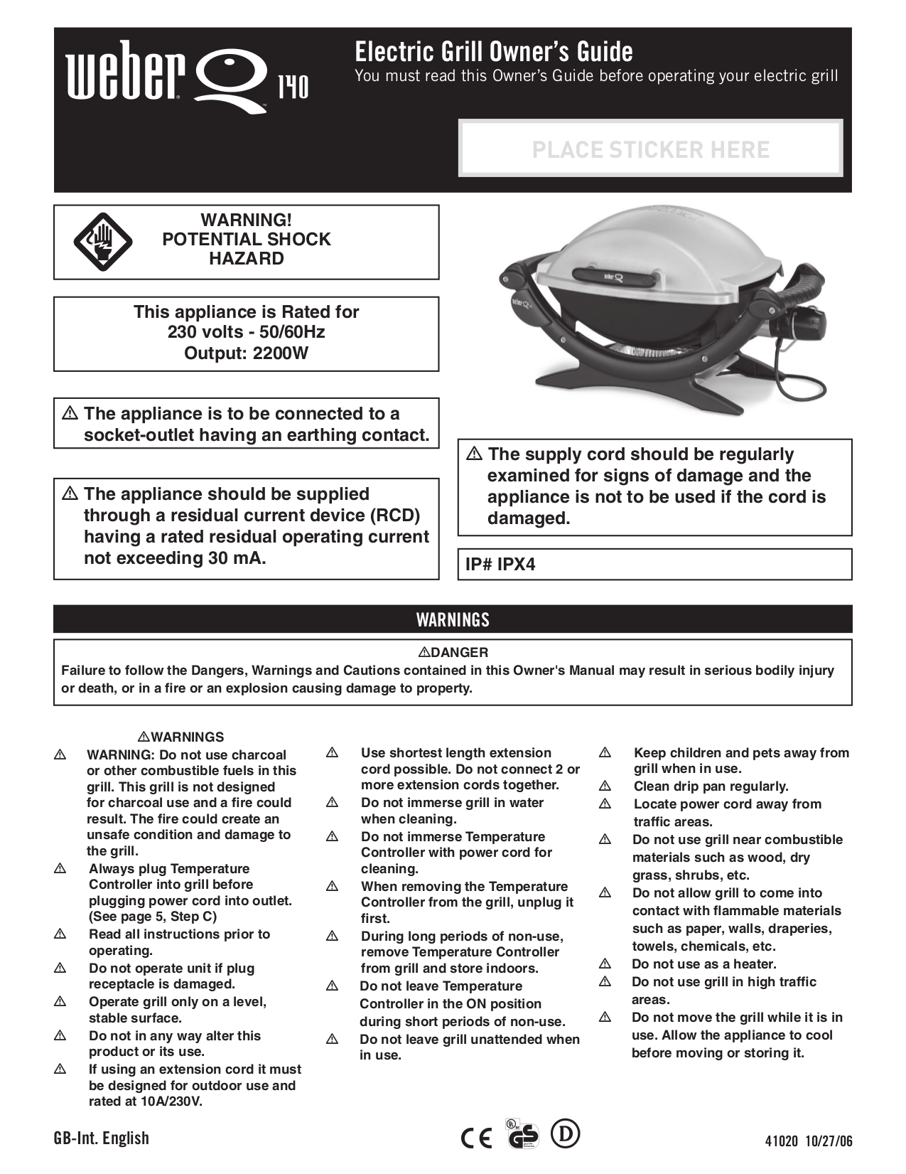 pdf for Weber Grill Smokey Joe manual