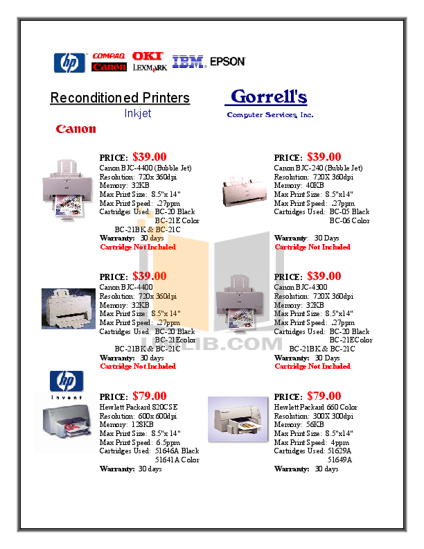 pdf for Canon Printer BJC-4300 manual