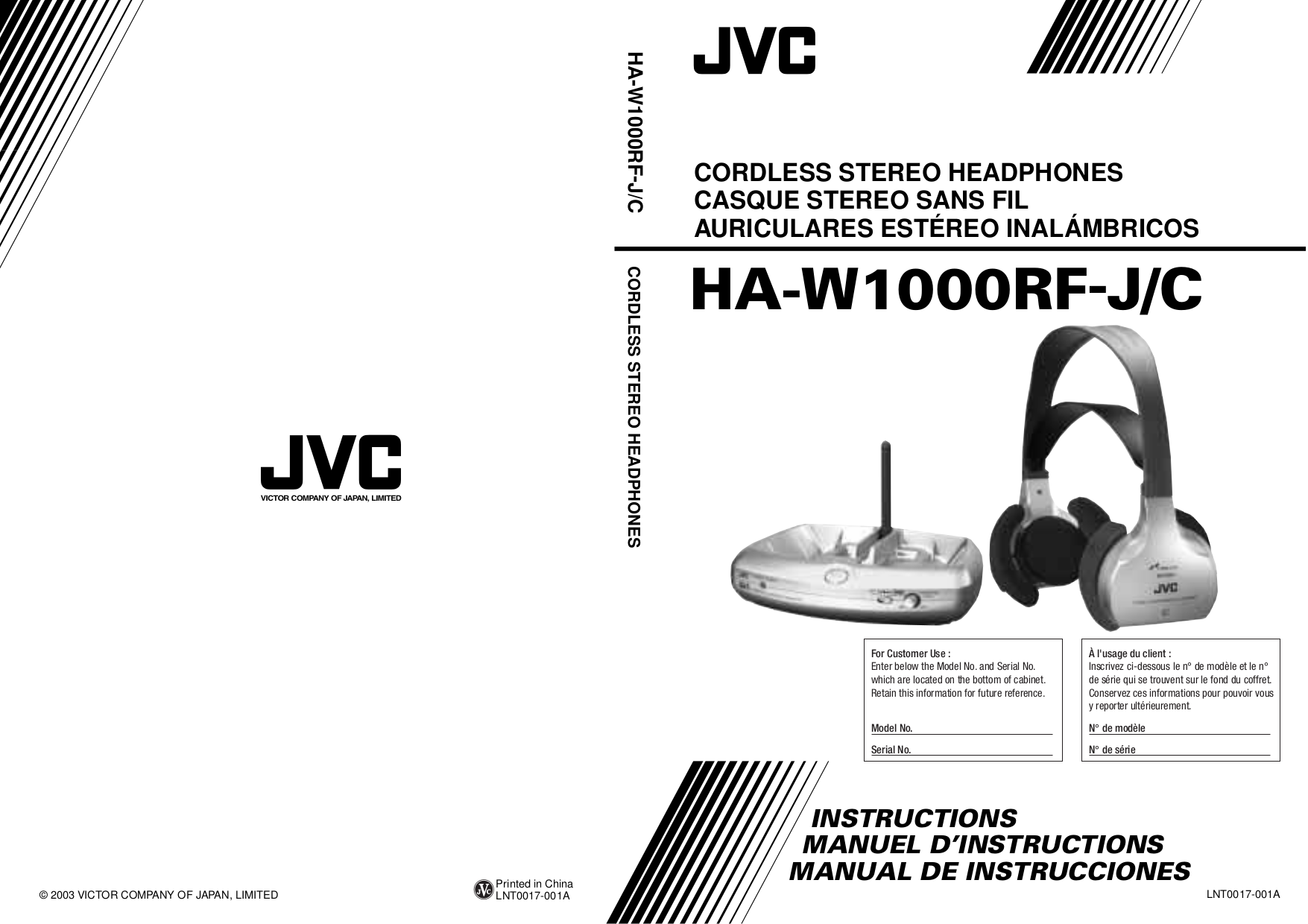 pdf for JVC Headphone HA-W1000RF-G manual