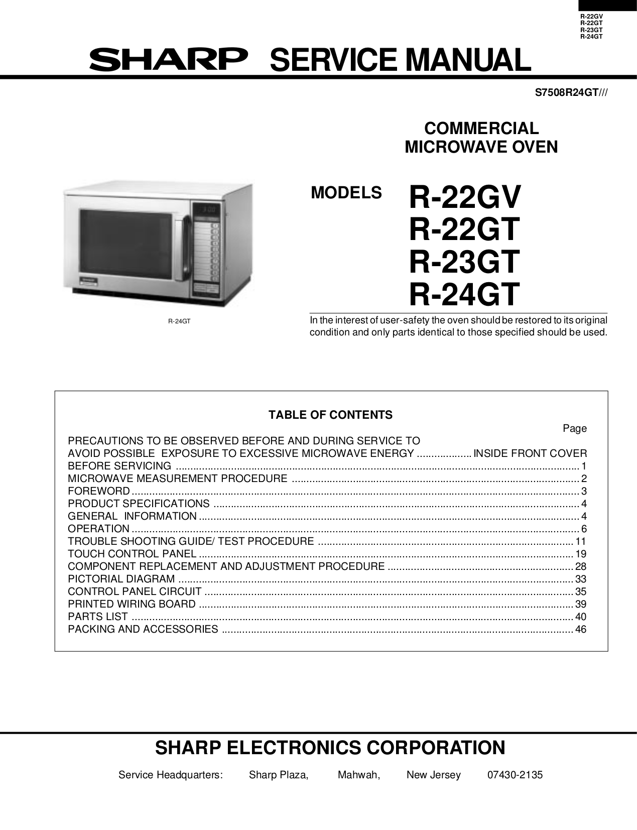 Microwave Service manual on