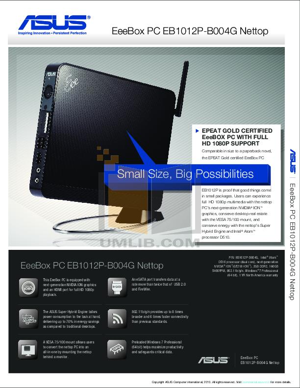 pdf for Asus Desktop Eee Box EB1012 manual