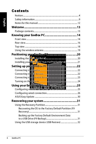 Asus Desktop Eee Box EB1012 pdf page preview