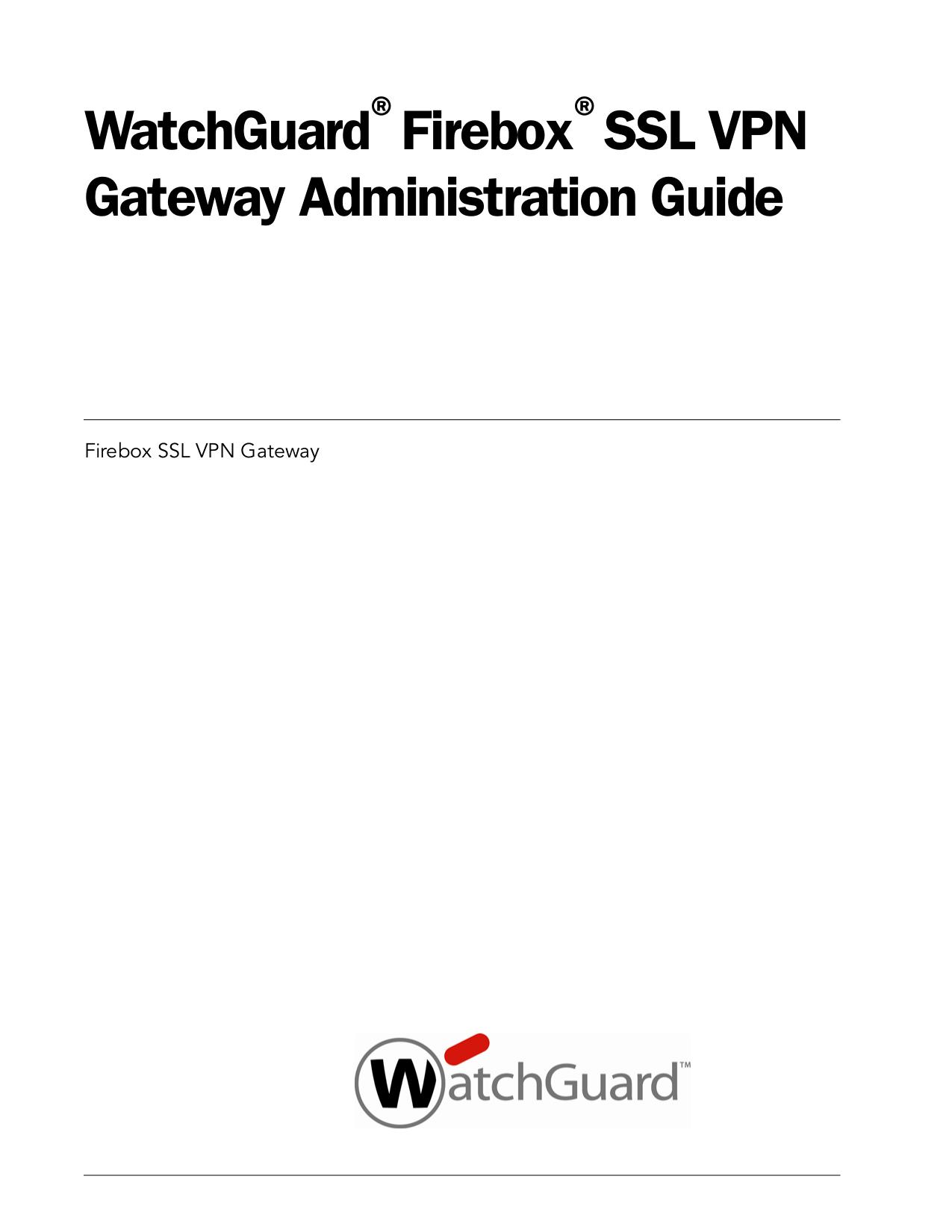 pdf for Watchguard Other SSL 500 Gateway manual