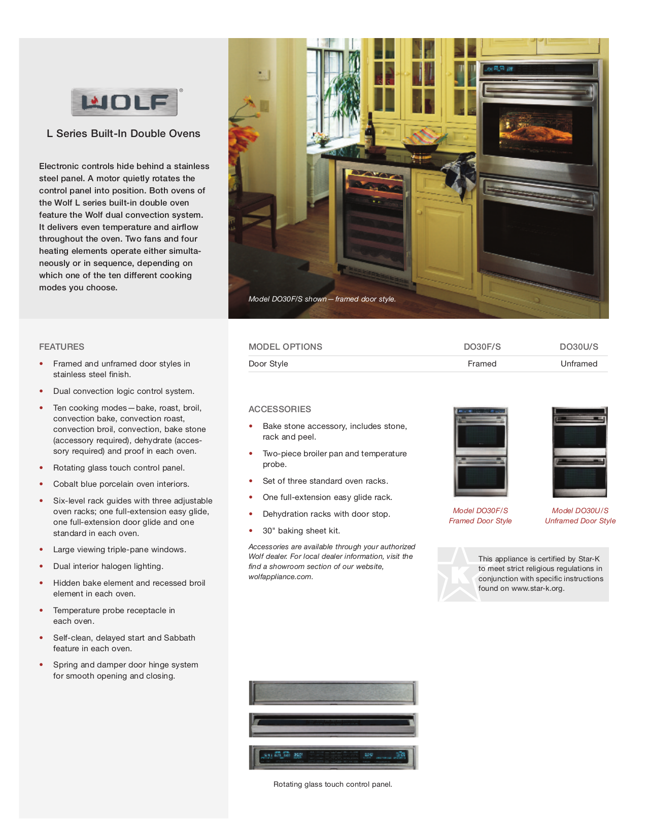 pdf for Wolf Oven L Series DO30F manual