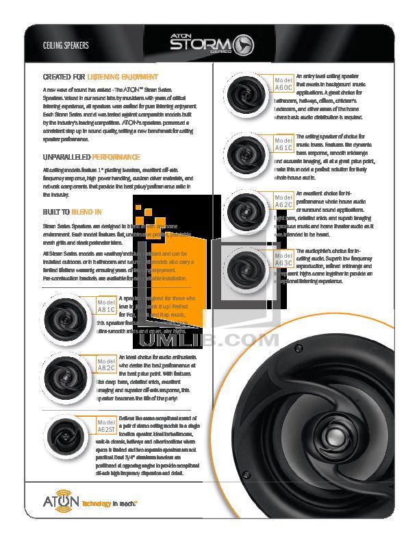 pdf for Aton Speaker A62C manual