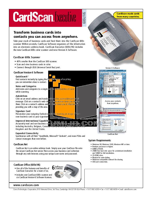 pdf for Cardscan Scanner 600c manual