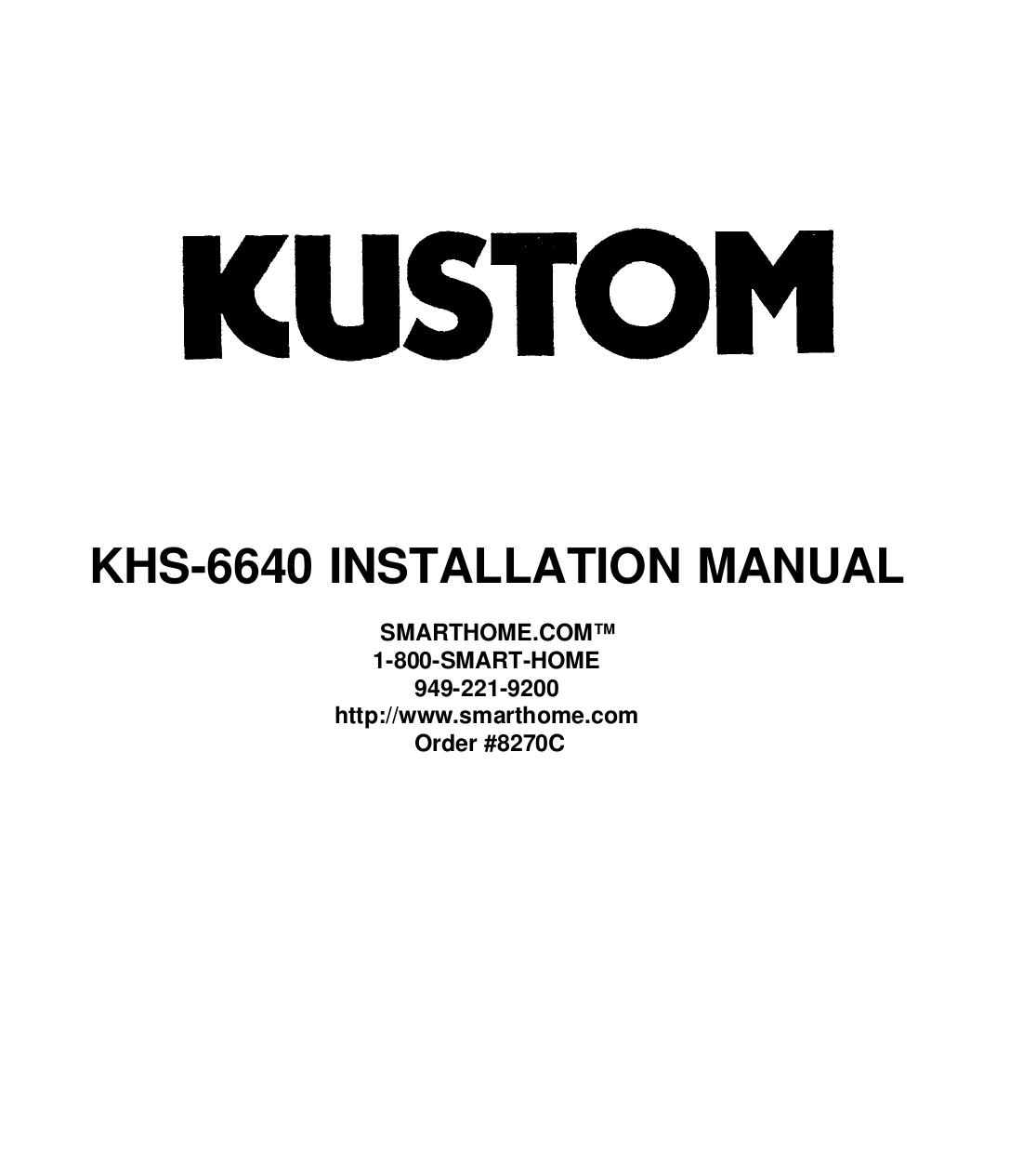 pdf for Nuvo Amp KHS6640 manual