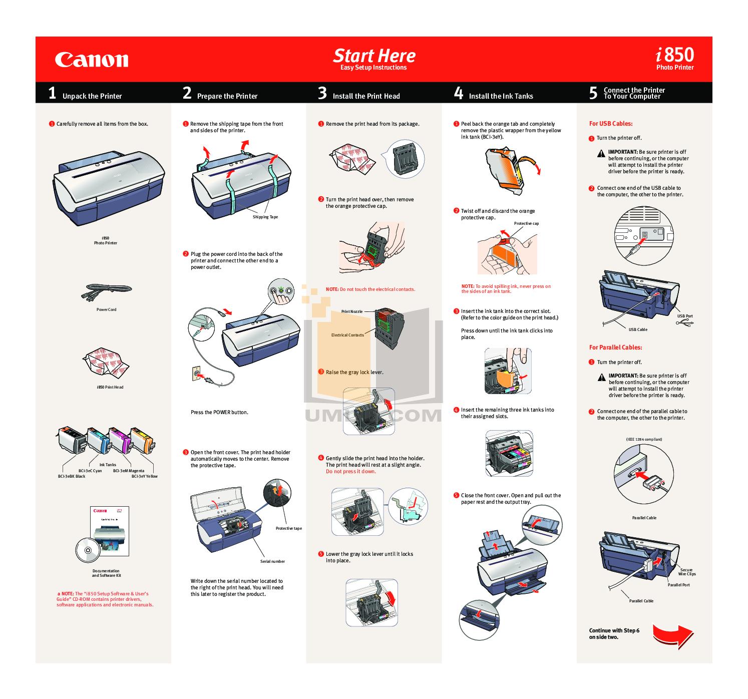 pdf for Canon Printer i850 manual