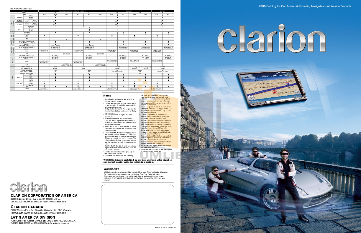 pdf for Clarion Receiver M275 manual