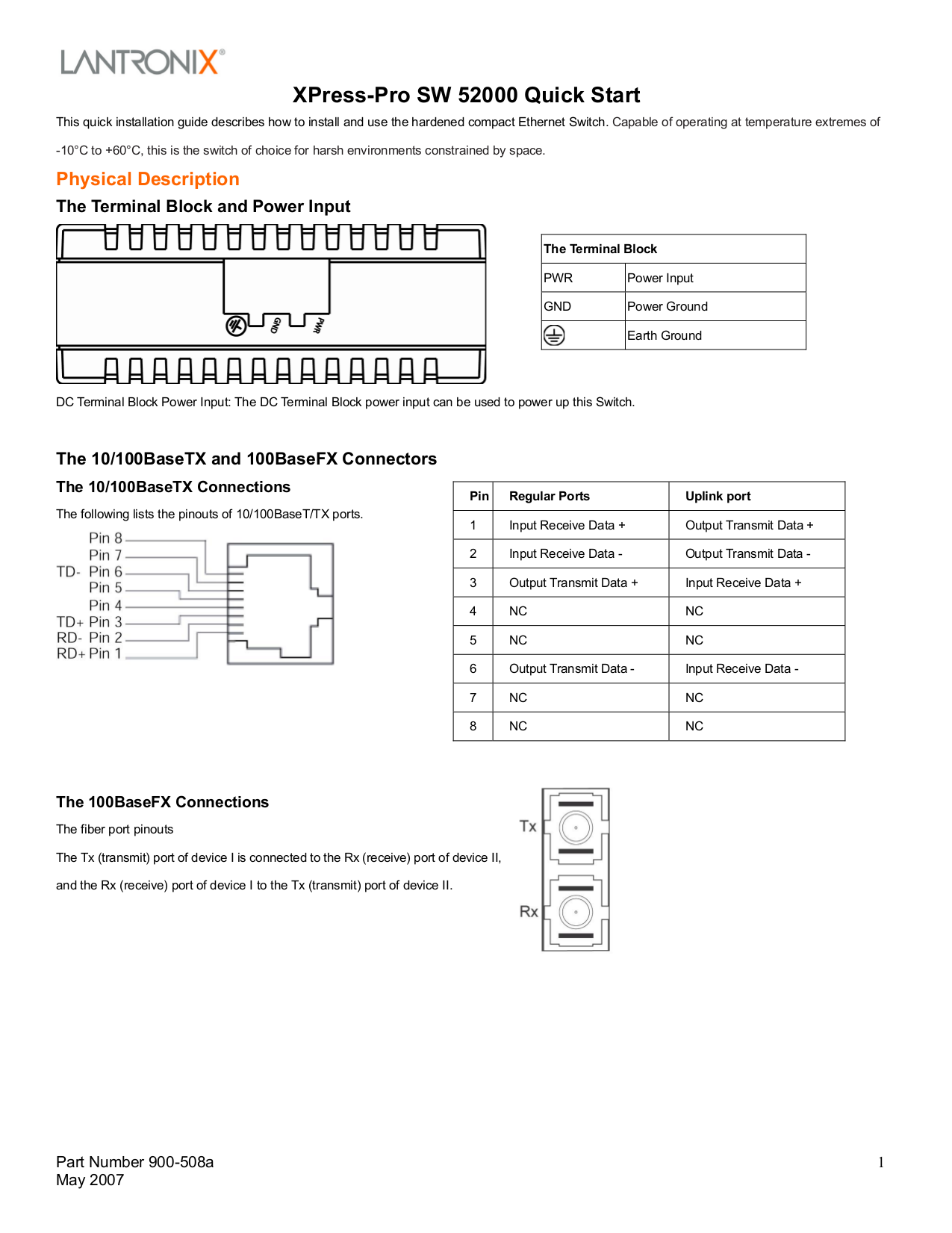 pdf for Lantronix Switch Xpress-Pro SW 52000 manual
