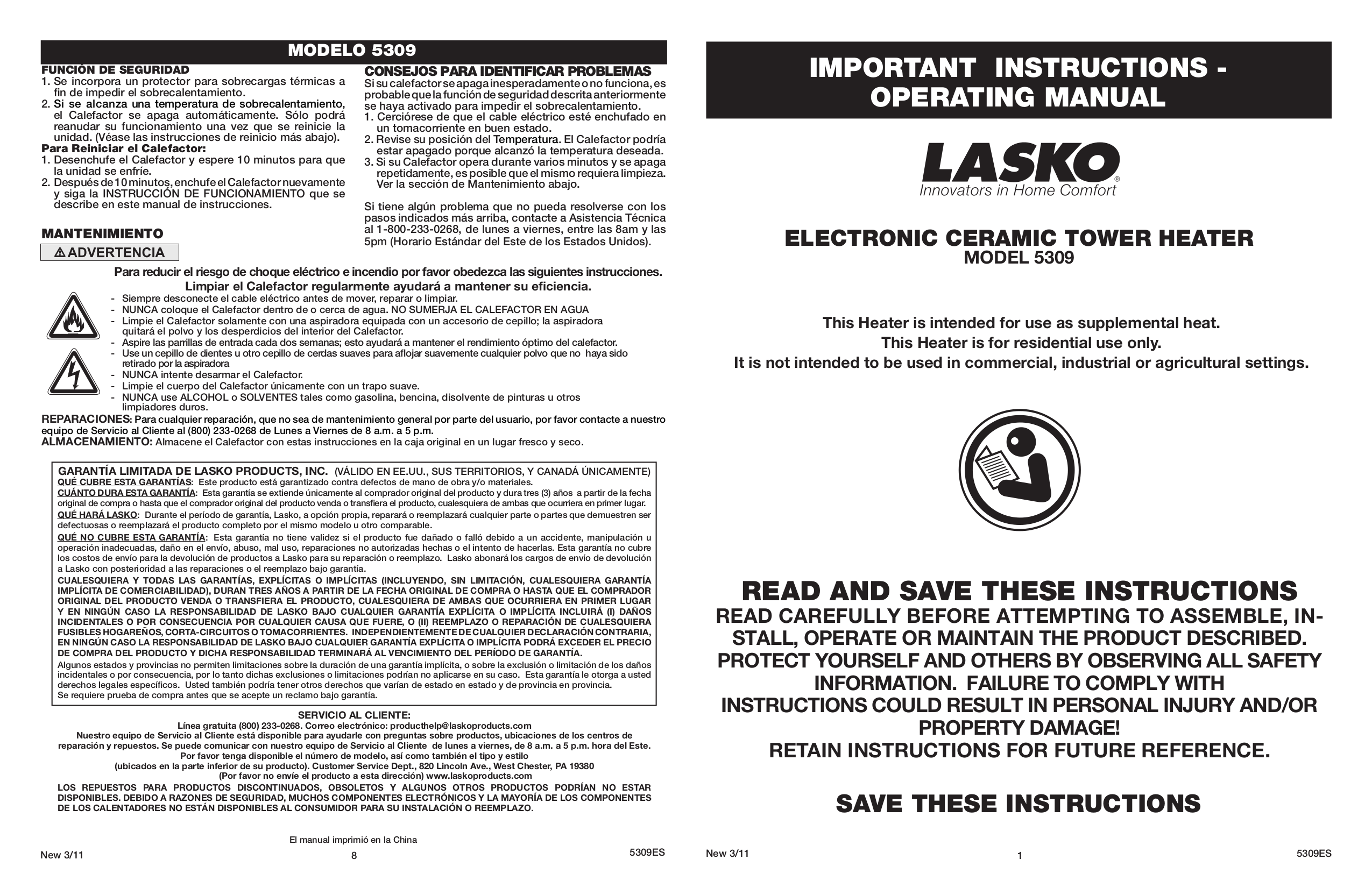 pdf for Lasko Heater 5309 manual