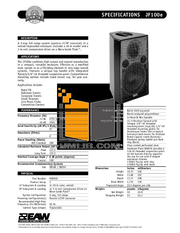 pdf for Eaw Subwoofer SB250z manual