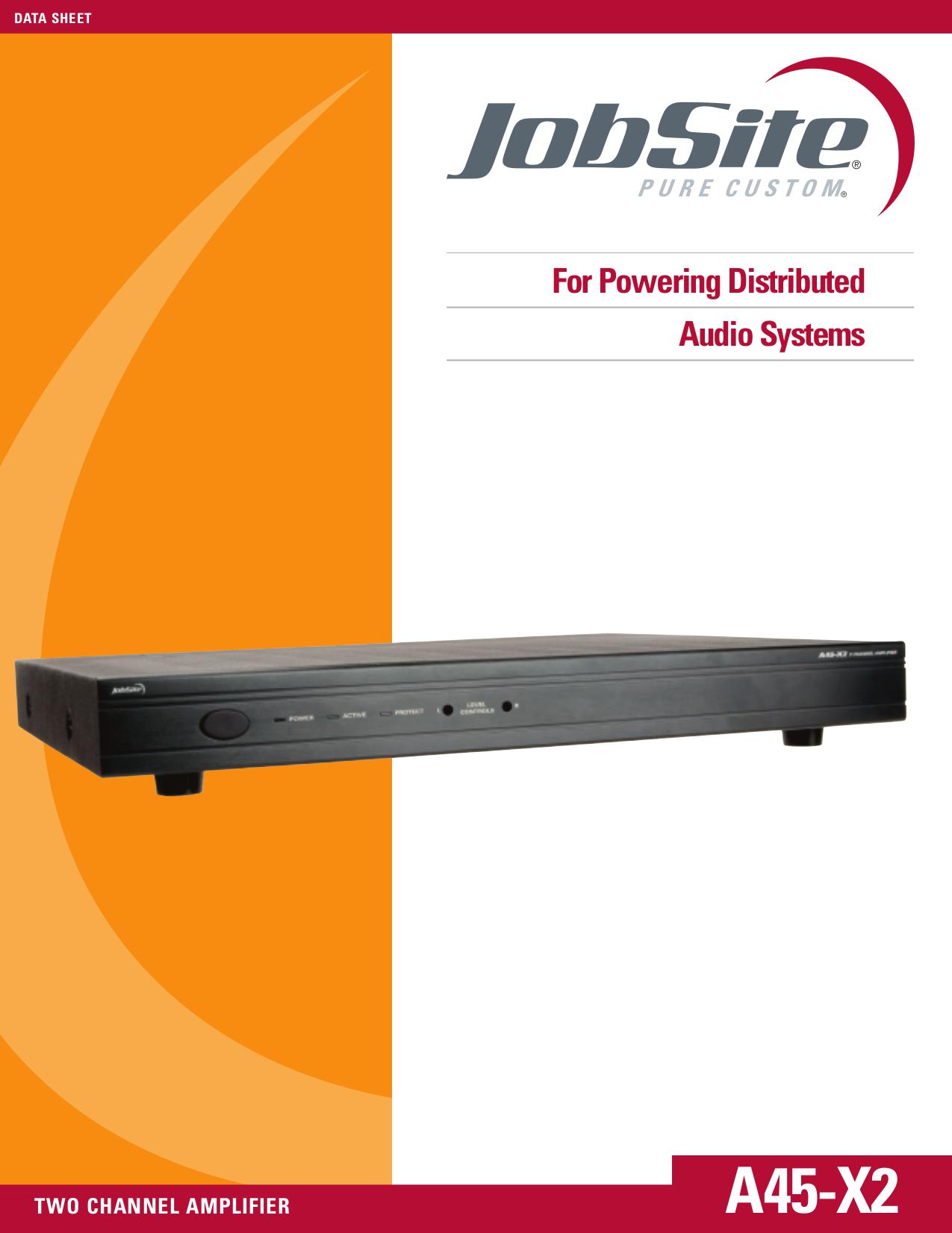 pdf for Jobsite Amp A45-X2 manual