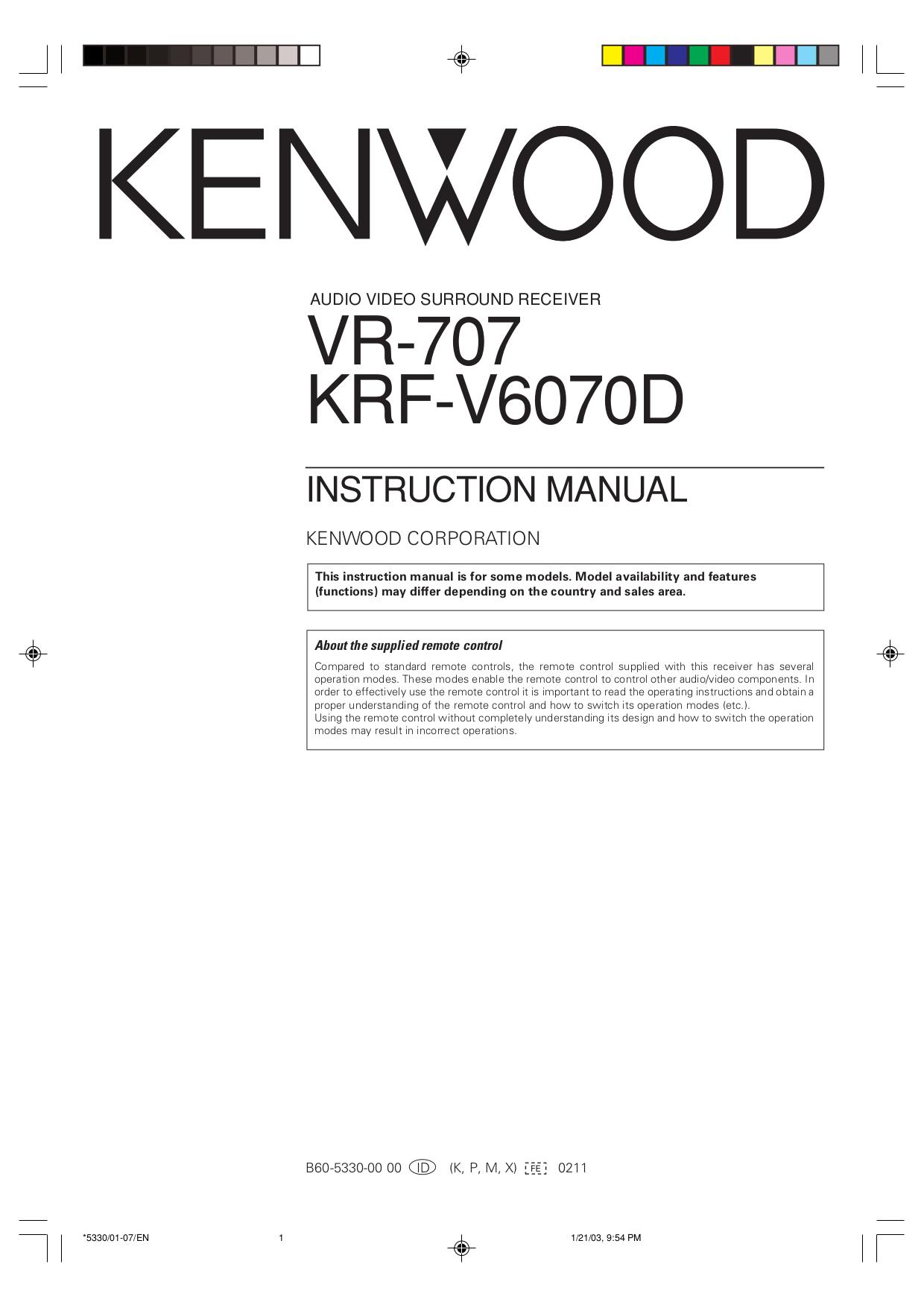 Kenwood Kr v6070 Manual