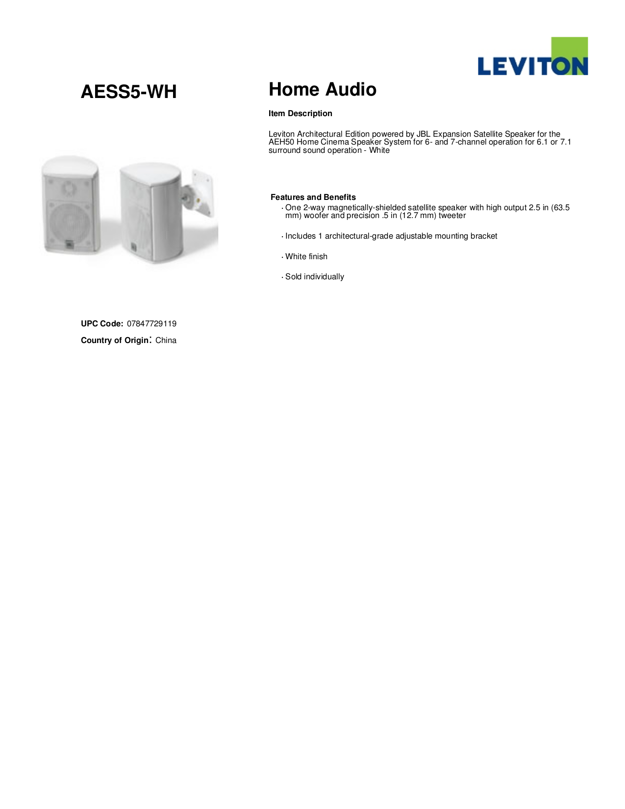 pdf for Leviton Speaker AESS5 manual