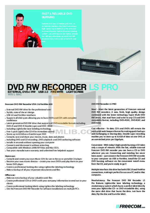 pdf for Freecom DVD Drive DVD RW Recorder LS PRO manual
