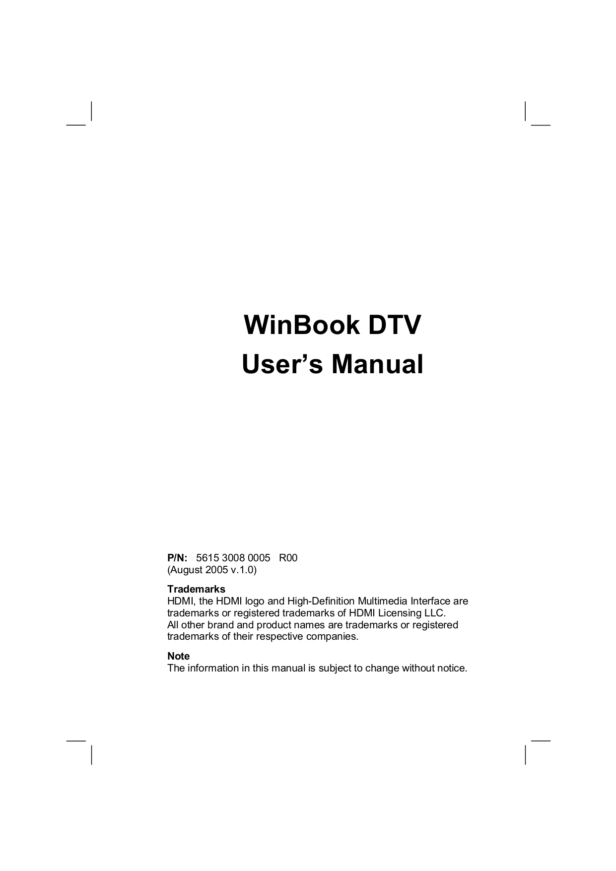 pdf for Winbook TV 32MO manual