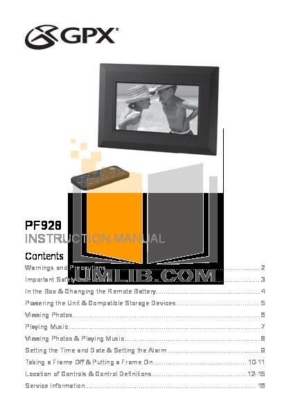 pdf for GPX Digital Photo Frame PF928 manual