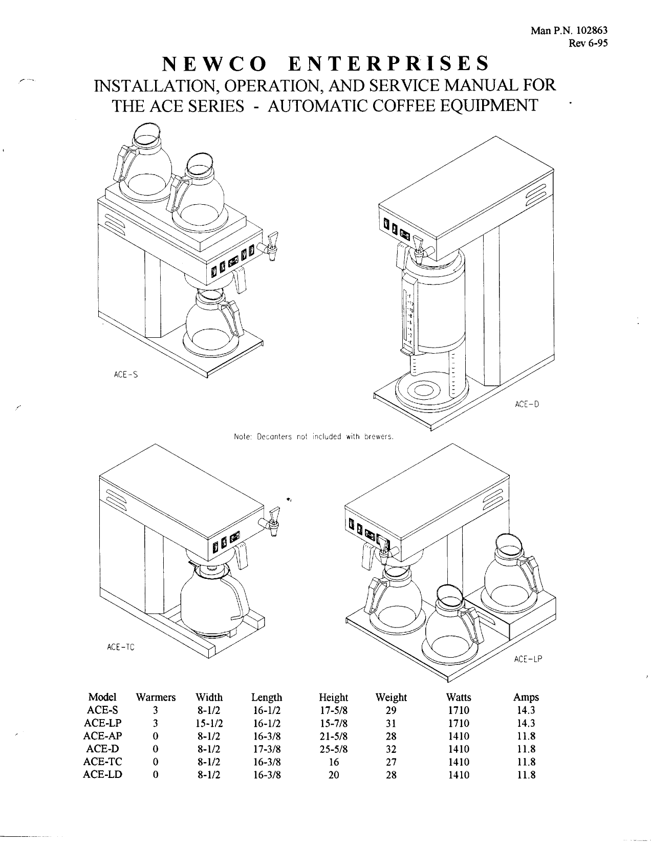 pdf for Newco Other HW Coffee Maker manual