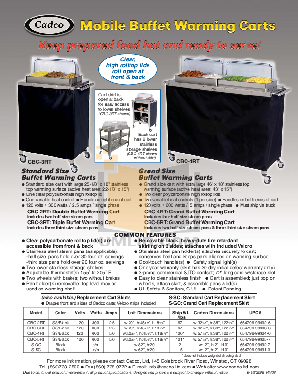 pdf for Cadco Other CBC-2RT Warming Carts manual