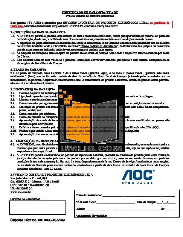 pdf for AOC TV A20S431 manual