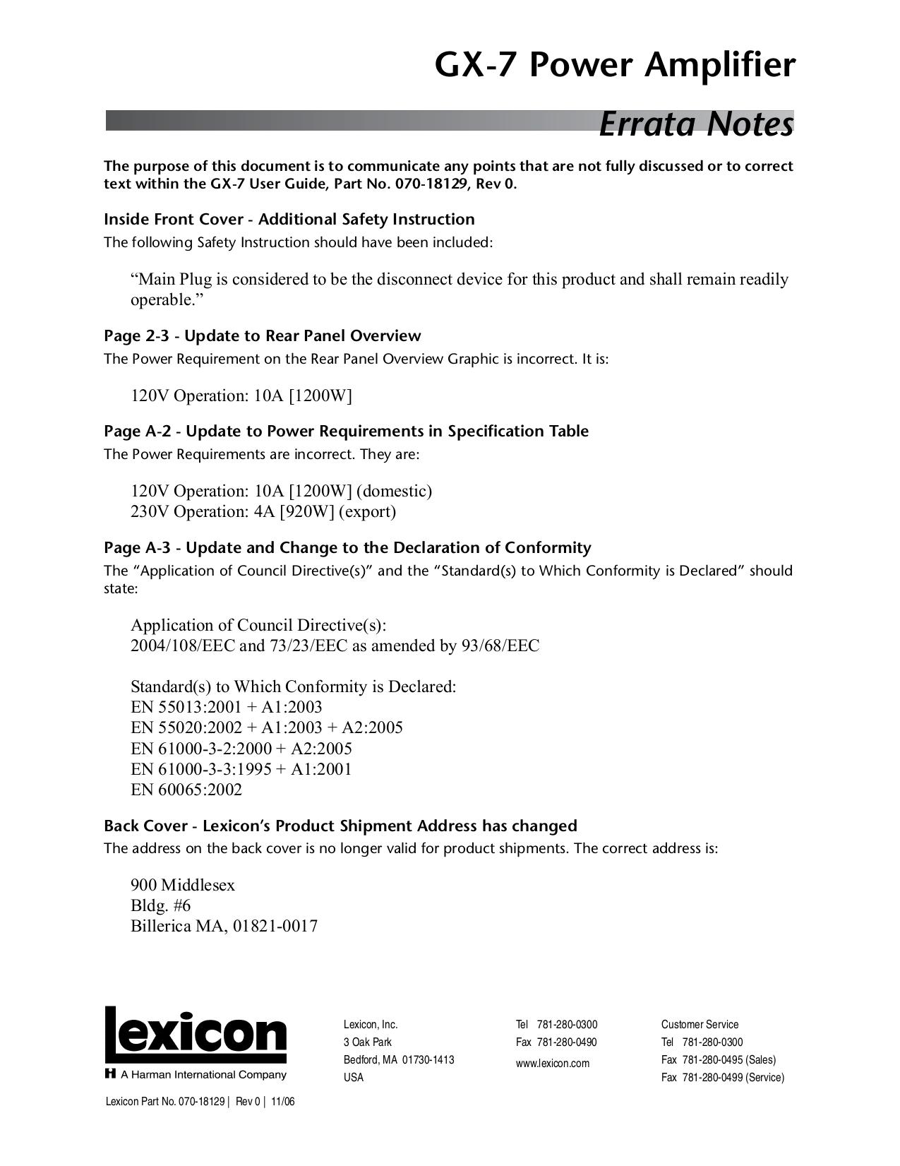pdf for Lexicon Amp GX-7 manual