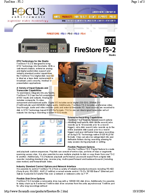 pdf for Focus Storage Firestore FS-3 manual