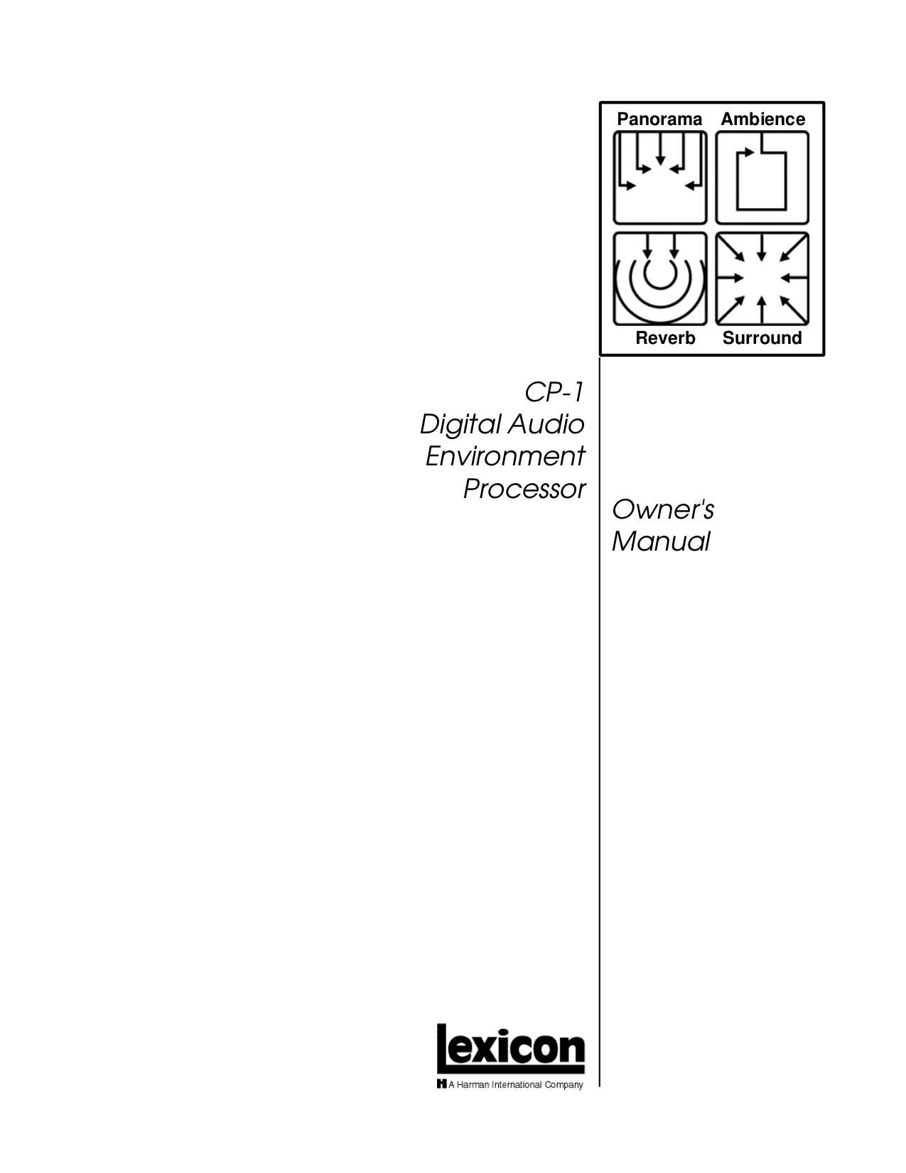 pdf for Lexicon Other CP-1 Plus Digital Processors manual
