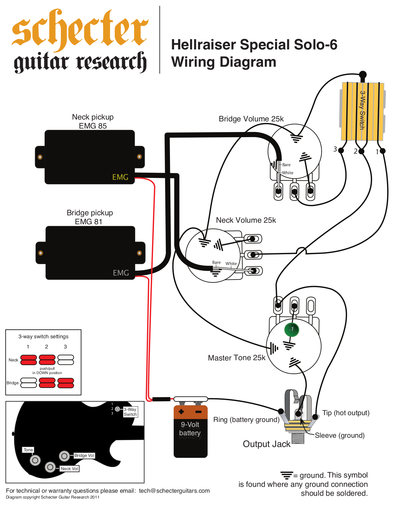 Jackson Emg Pickups Wiring Diagrams Download How To Wire Schecter Diagram Get Free Image About Bass 1 Volume Tone