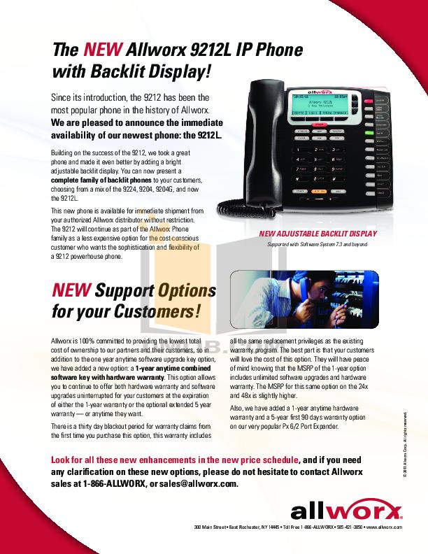 pdf for Allworx Telephone 9212 manual