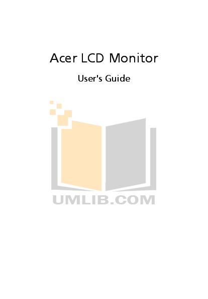 pdf for Acer Monitor V213HL manual