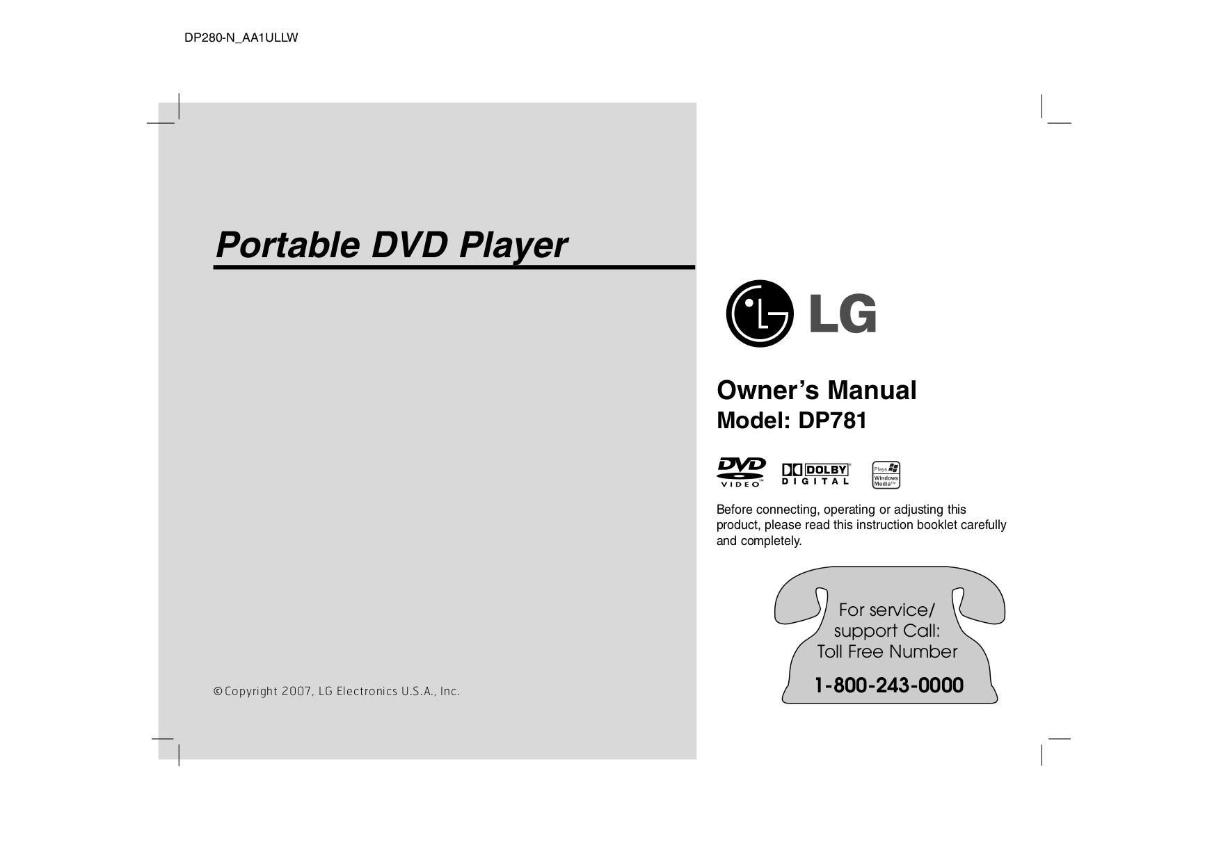 pdf for LG Portable DVD Player DP781 manual