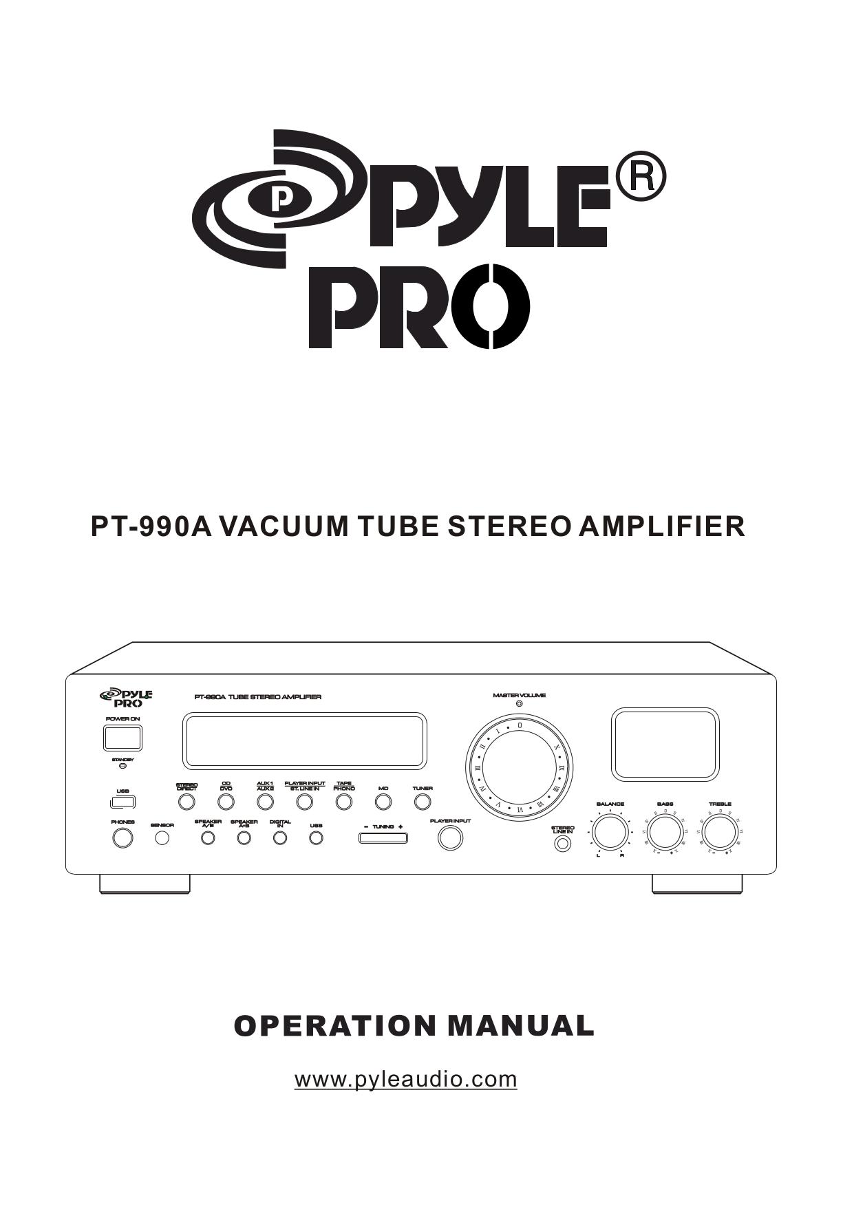 pdf for Pyle Receiver PT990A manual