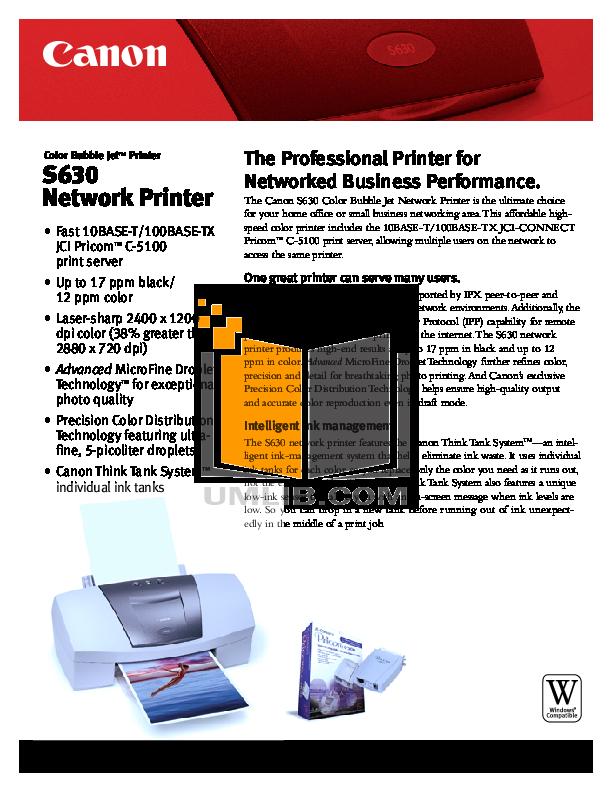 pdf for Canon Printer S630 manual
