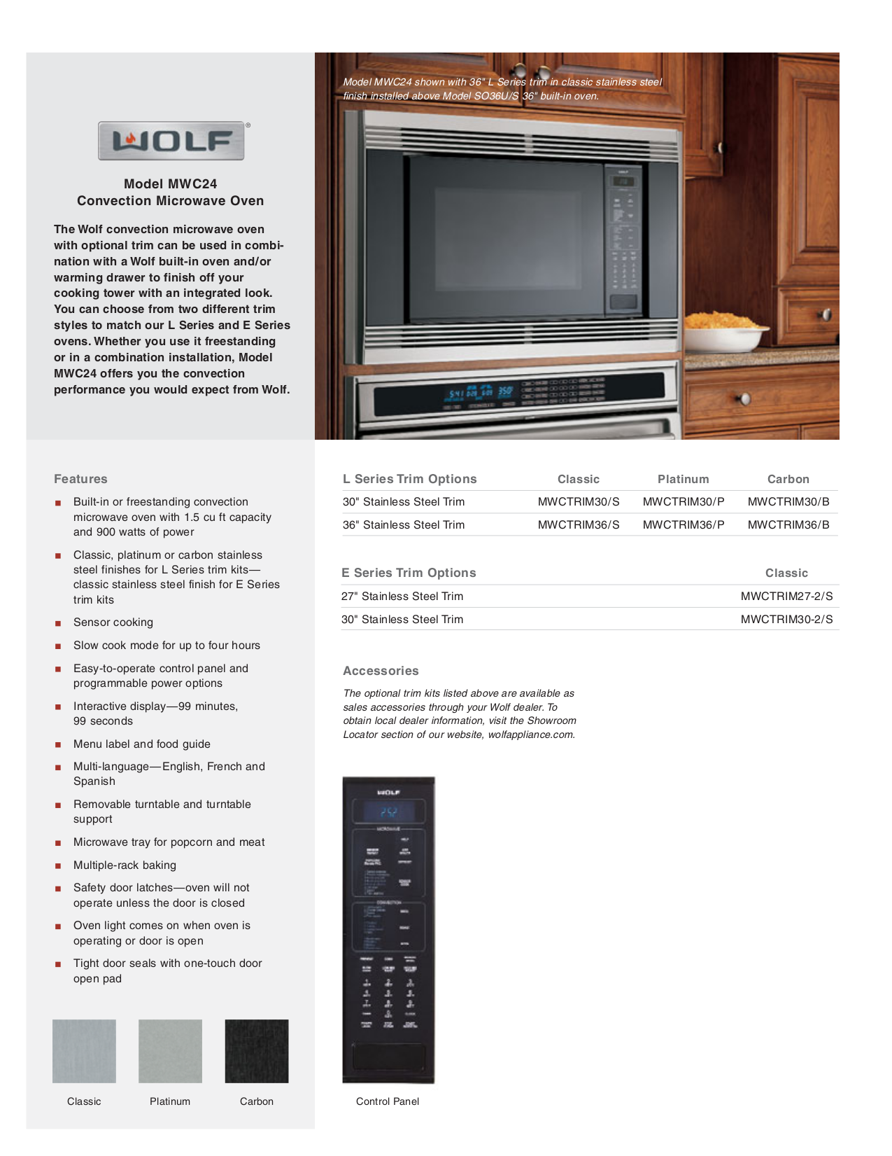 pdf for Wolf Oven MWC24 manual