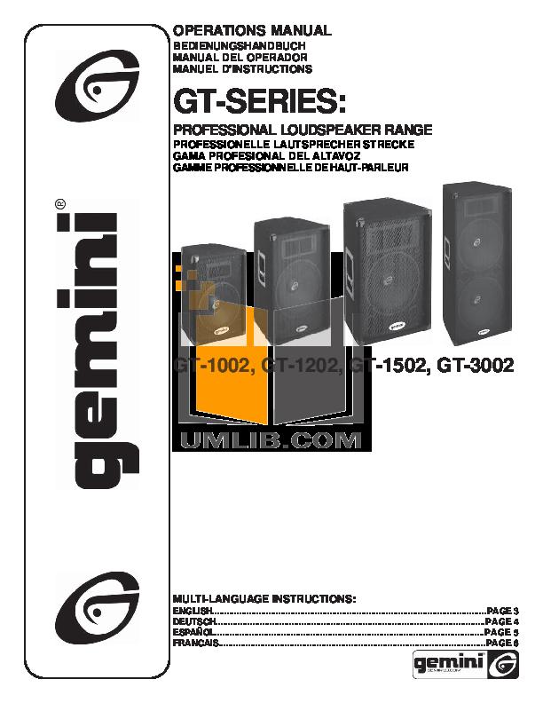 pdf for Gemini Speaker GT-1502 manual