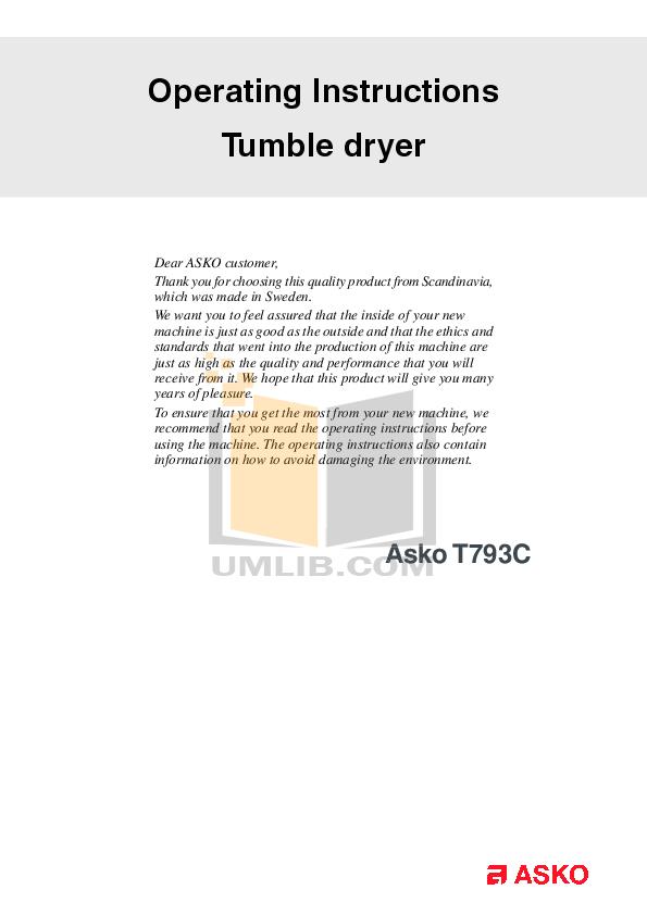 pdf for Asko Dryer T793C manual