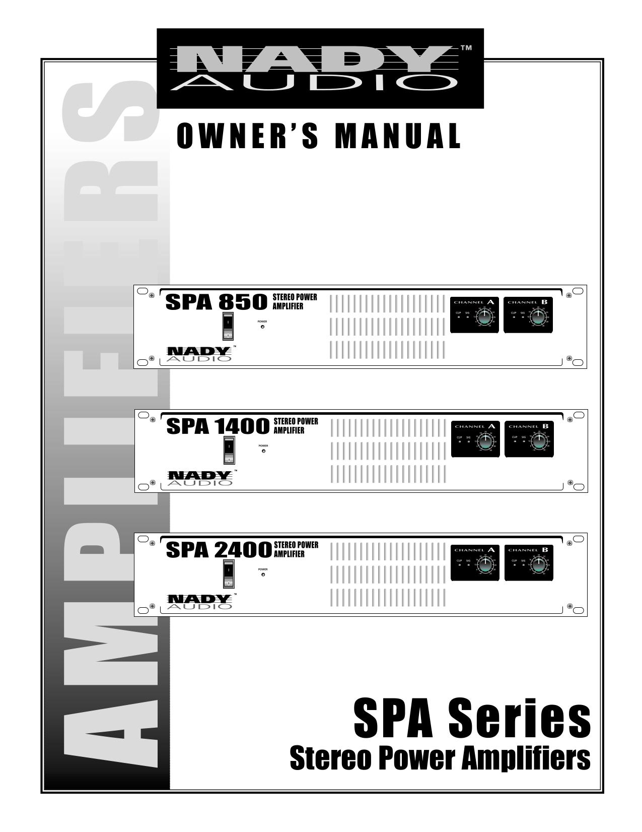 pdf for Nady Amp SPA 850 manual