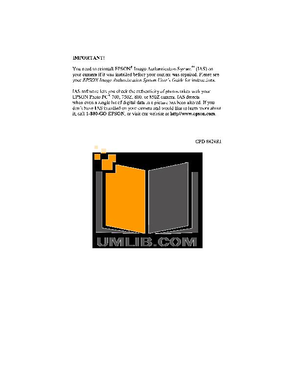pdf for Epson Digital Camera PhotoPC 750Z manual