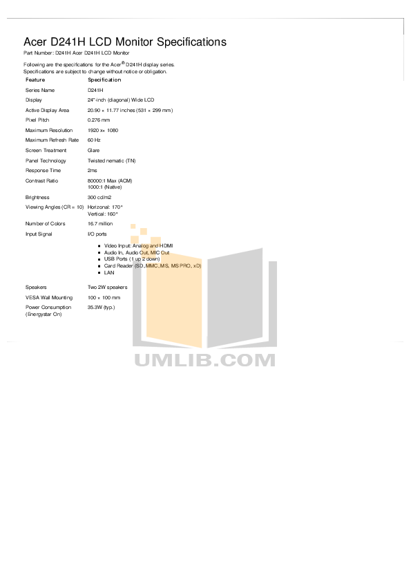 pdf for Acer Monitor D241H manual