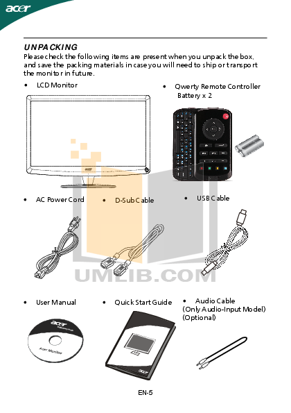 Acer Monitor D241H pdf page preview