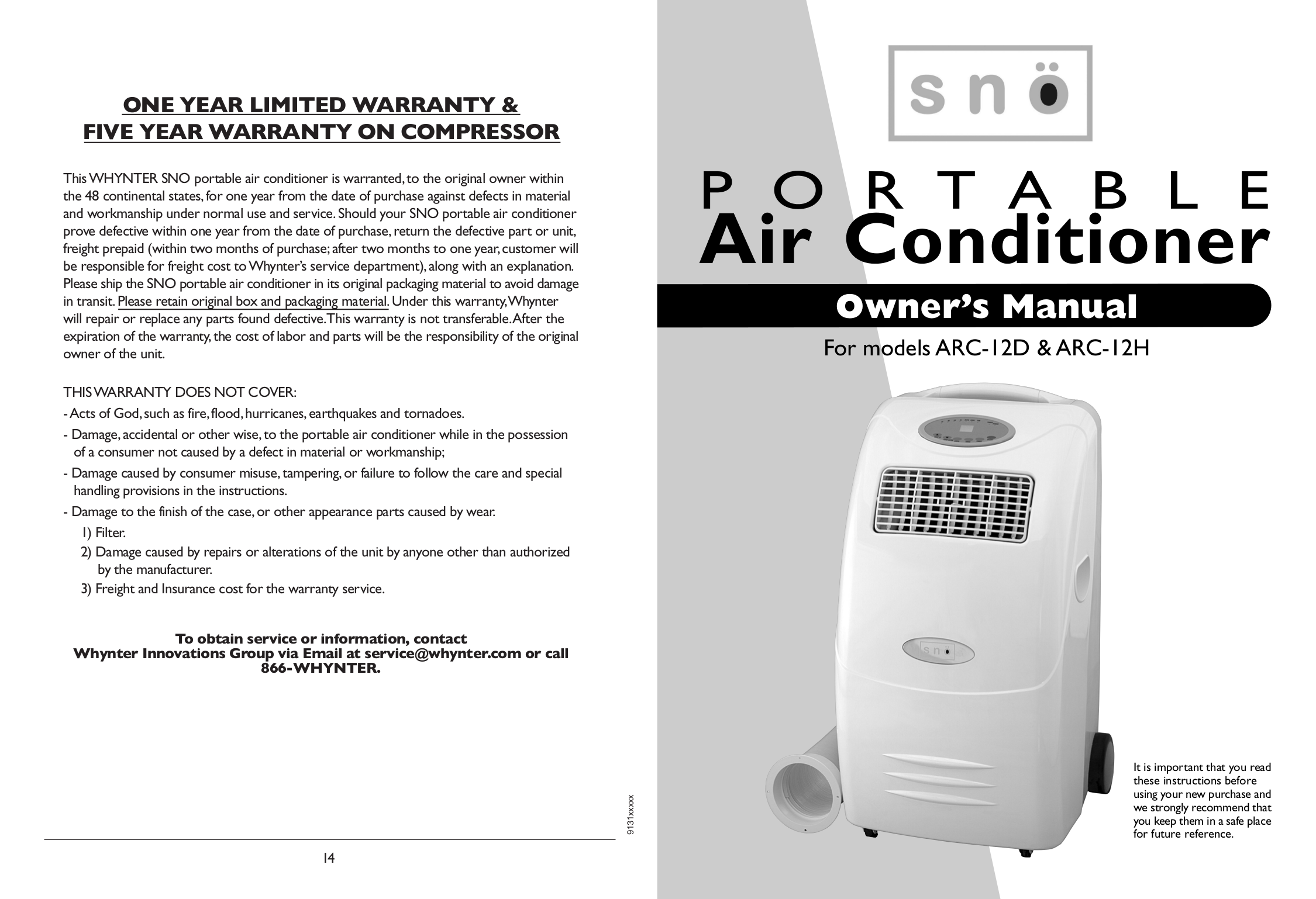 pdf for Whynter Air Conditioner ARC-13 manual