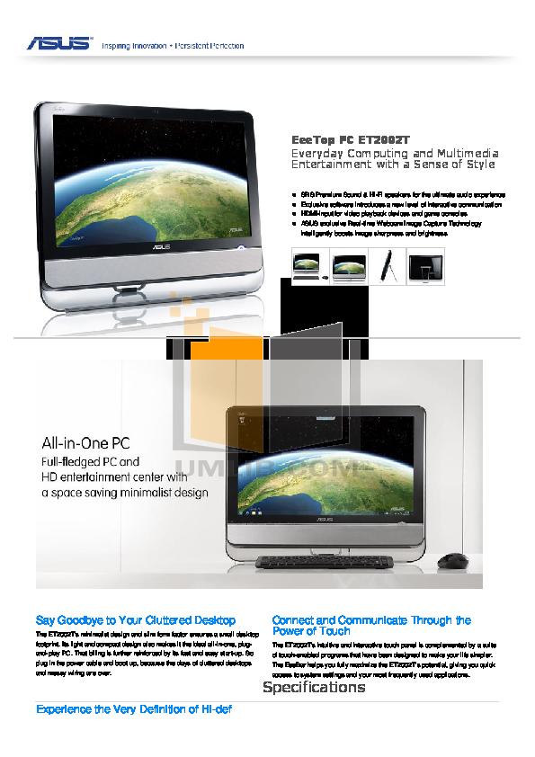 pdf for Asus Desktop Eee Top ET2002T manual