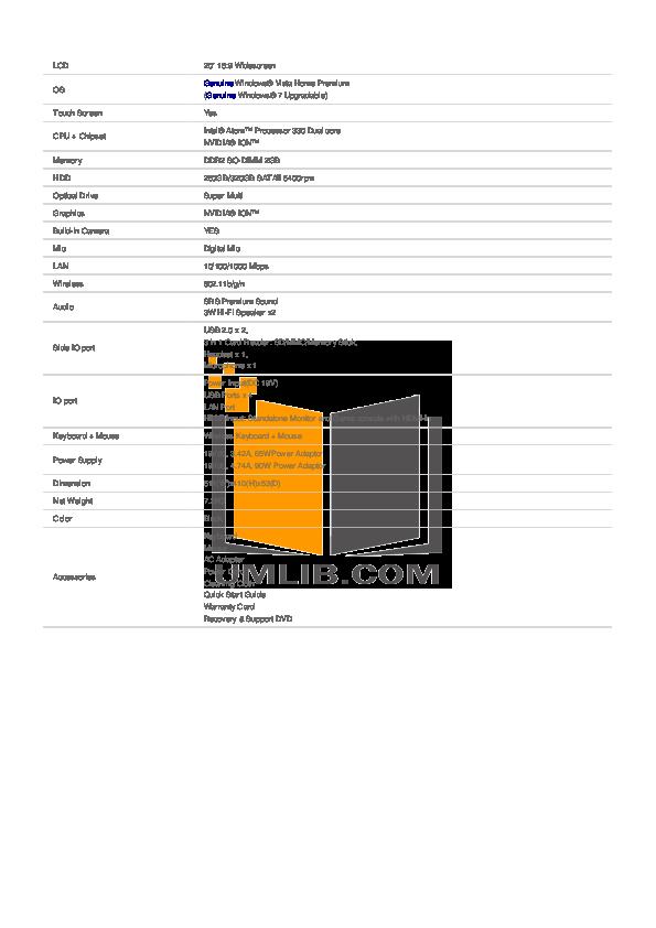 Asus Desktop Eee Top ET2002T pdf page preview