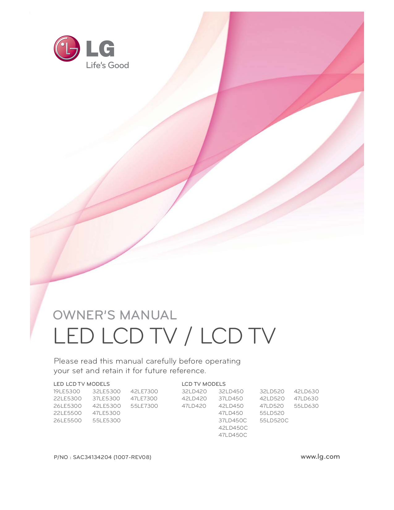 pdf for LG Plasma TV 55LD520C manual