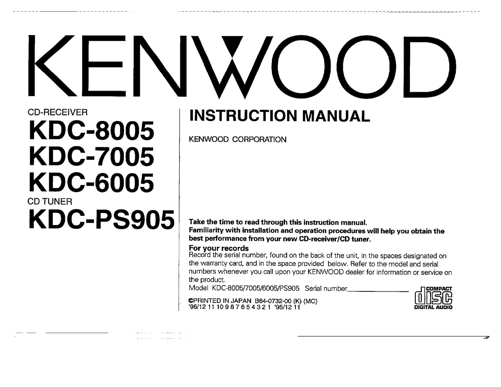 Download Free Pdf For Kenwood Kdc 319 Car Receiver Manual Model Wiring Diagram 3011